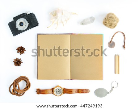 Mock Up with kraft paper notebook, retro camera, shell, watches, key chain, locket. Flat lay on white background for art works, lettering, drawings
