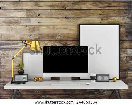 Mock up work space, wooden wall background, 3d illustration - stock photo