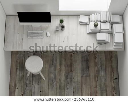 Mock up workspace, interior render, 3d illustration - stock photo