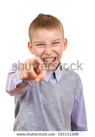Mocker Boy pointing at You. Isolated on the White Background - stock photo