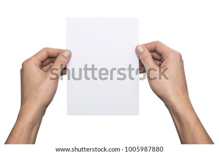 Mockup A5 letter vertical empty blank white holds the man in his hand. Isolated on a white background