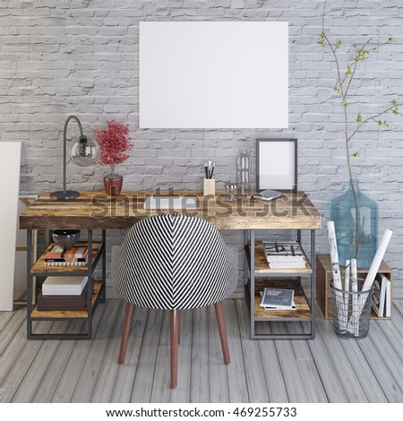 Mockup Blank Poster On The Wooden Table Against Background Of A White Brick Wall