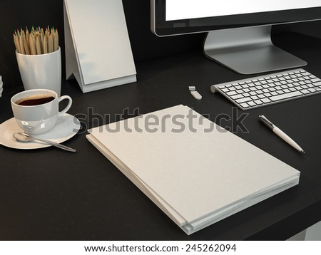 Mockup business template. High resolution. - stock photo