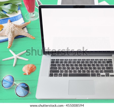 Mockup Copyspace Laptop Summer Blank Concept - stock photo