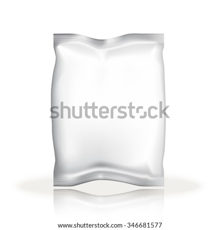 Mockup Foil Food Snack pack For products. Plastic Pack Template for your design and branding. White packaging. Empty packaging. Food packaging. Template package. Sample package.