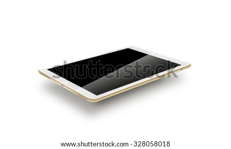 Mockup gold tablet realistic style. Isolated on white background. Nice tab mock up for the web design presentation. Pda laptop, gadget computer blank hd lcd touch screen, portable electronic monitor. - stock photo