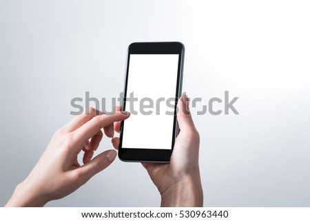 mockup hands phone iphone mock up screen holding display blank white cellphone reading search chat electronic media concept - stock image