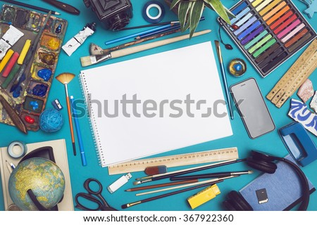 Mockup image with blank sketchbook - stock photo