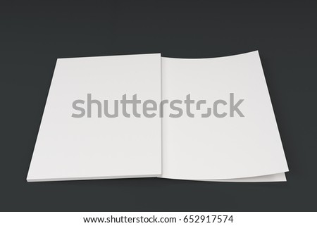 Mockup of blank white open brochure lying with cover upside on black background. Magazine cover template. 3D rendering illustration