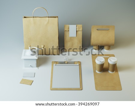 Mockup of craft packaging and cups with empty letter on clipboard. Hipster branding elements for restaurant