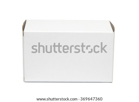 Mockup of small horizontal white cardboard box. Isolated on white. Photo has clipping path. - stock photo