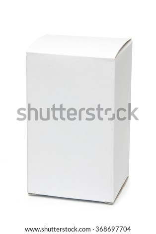 Mockup of small vertical white board box. Photo isolated on white has clipping path - stock photo