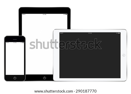 Mockup of smartphone and two tablet computers in portrait and landscape orientation for responsive design presentation. High quality. Isolated on white background. - stock photo