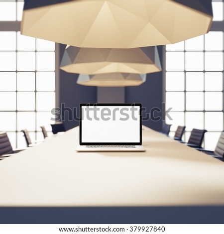 mockup of workspace with laptop. coworking office, hipster style. 3d render - stock photo