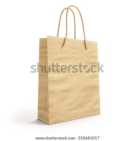 mockup  paper bag for shopping. 3d