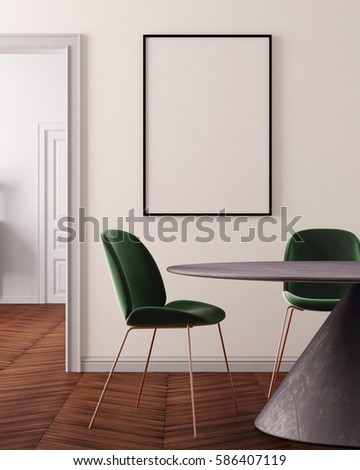 Mockup Poster In Art Deco Style Dining Room 3d Rendering Illustration