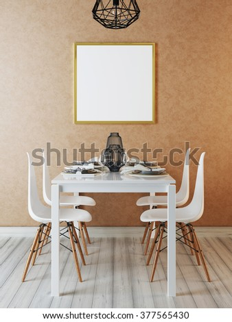 Mockup poster in the interior dining room. Contemporary dining in a hipster style. 3D render. - stock photo