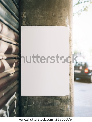 Mockup poster on the wall - stock photo