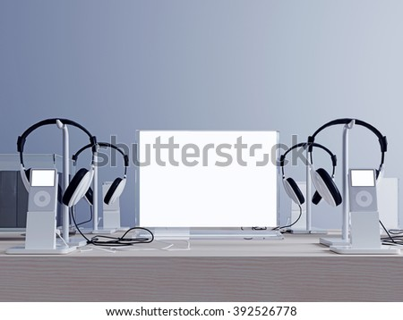 mockup screen with headphones and player. Stands for headphones and player.  - stock photo