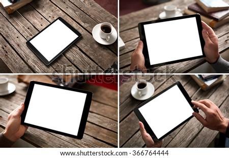 Mockup set of digital tablet computer at a city cafe environment. - stock photo