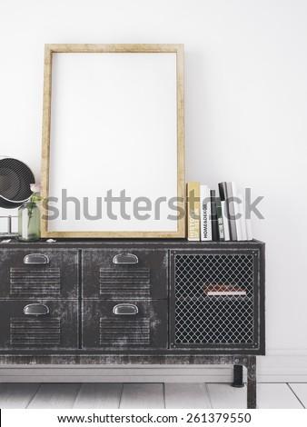 mockup white big frame in stylish interior - stock photo
