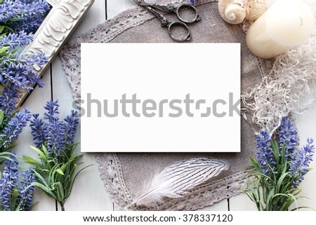 Mockup with Lavender and Blank Card. Vintage style mockup for your photos and arts. French, Provence, european style. - stock photo