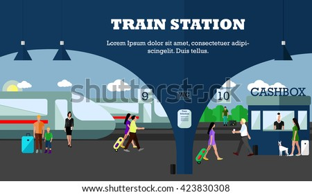 Mode of Transport concept illustration. Railway station banner. Design elements in flat style. City transportation objects: train, platforms, tickets office. - stock photo