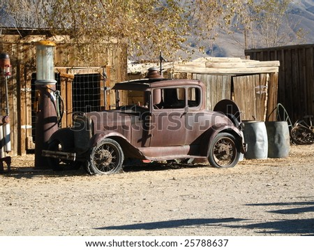 Model A at Gas Pump - stock photo