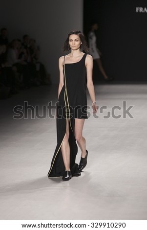 Model Alina Tatsiy walks the runway for Francesca Liberatore Fashion Show Fall Winter 2015 Collection during Mercedes Benz Fashion Week 2015 at The Lincol Center on February 18, 2015 in New York City