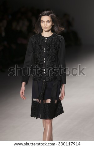 Model Alina Tatsiy walks the runway for Francesca Liberatore Fashion Show Fall Winter 2015 Collection during Mercedes Benz Fashion Week 2015 at The Lincol Center on February 18, 2015 in New York City - stock photo