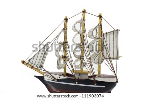 Model Barque with full sails up Isolated on white. - stock photo