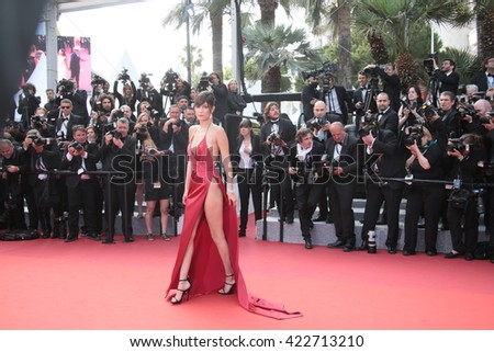 Model Bella Hadid attends 'The Unknown Girl (La Fille Inconnue)' Premiere duirng the annual 69th Cannes Film Festival at Palais des Festivals on May 18, 2016 in Cannes, France. - stock photo