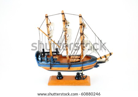 model boat on stand side view isolated on white