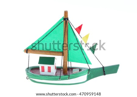 model boat on white background