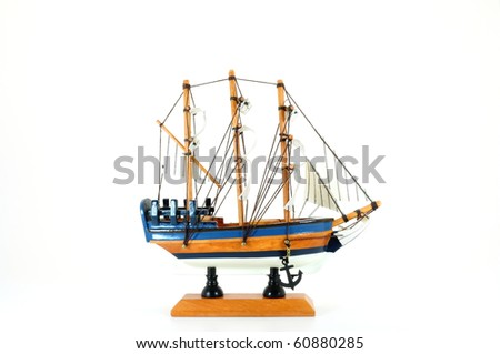 model boat side view isolated on white