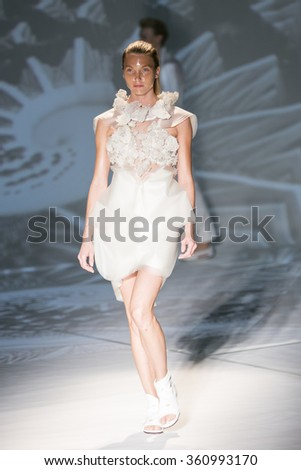 Model Edda Petursdottir walks the runway at the Threeasfour fashion show during New York Fashion Week Spring Summer 2016 at Pier 59 on September 14, 2015 in New York City - stock photo