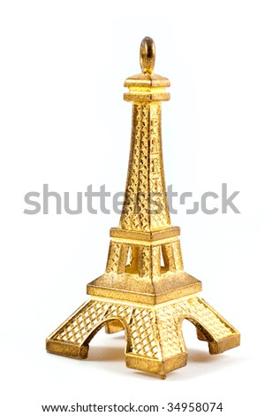 Model Eiffel tower isolated on white background