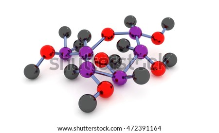 model glucose molecule on a white background. 3d.