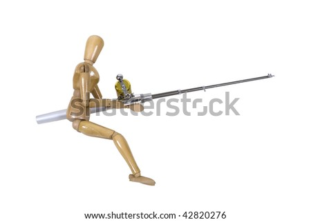 Model holding a fishing pole with rod and reel used to catch fish - path included