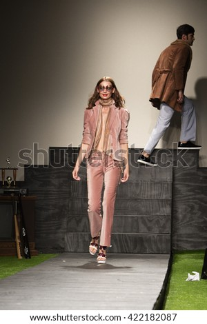 Model Holly Baratta walks the runway for The Phoenix House and True Vintage MIami during Funkshion Fashion Week Spring 2015 at Studio 255 in Miami on March 18th, 2016