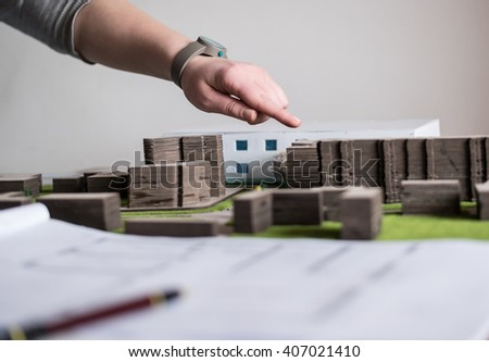 Model house, construction plan for house building, keys and clipboard. Real Estate Concept. Top view. - stock photo