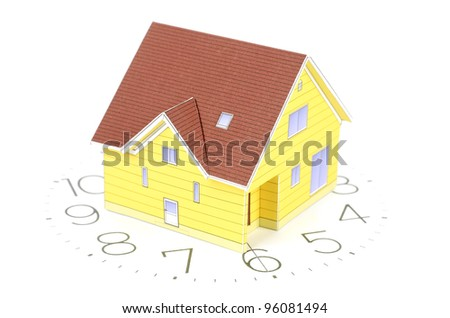 Model house on clockface - stock photo