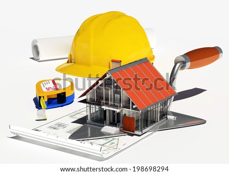 Model houses and tools on a white background. - stock photo
