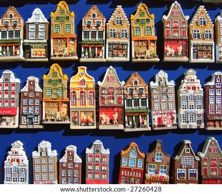 model houses, fridge magnets - stock photo