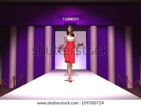 model in a fashion show - stock photo