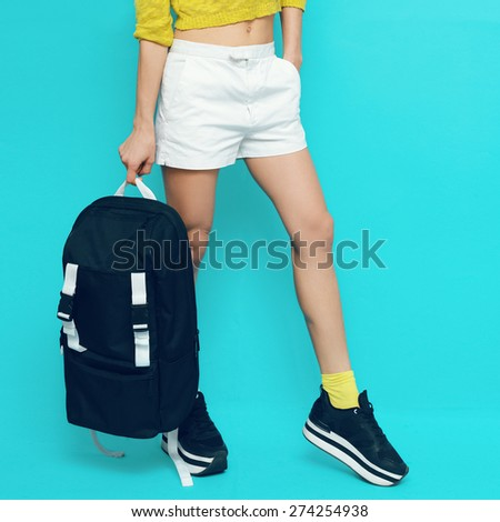 Model in fashionable Sports Clothes and Accessories - stock photo