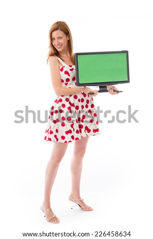 Model in studio isolated on plain background