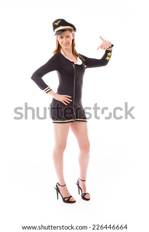 Model in studio isolated on white background