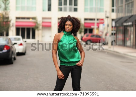 Model in the street - stock photo