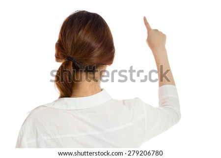 Model isolated back pointing - stock photo